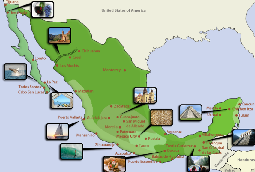 Image result for tourist map of mexico